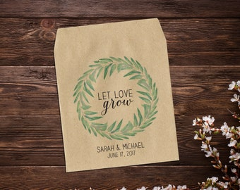 Seed Favor Packet, Let Love Grow, Rustic Wedding, Botanical Wedding, Personalized Favor, Seed Favor, Eucalyptus Wreath, Seed Packets x 25
