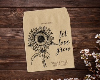 Sunflower Seed Wedding Favors, Wedding Favors, Sunflower Seed Packets, Wedding Seed Packet, Seed Packet Favors, Seed Favors X 25