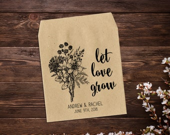 Seed Packet Favor, Let Love Grow, Wedding Seed Packets, Rustic Wedding Favor, Plant Wedding Favor, Personalized Favor, Seed Favor x 25