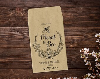 Wedding Seed Favor, Meant To Bee Seed Packets, Mini Seed Packets, Seed Packet Favor, Personalized Wedding Favors, Seed Favor x 25