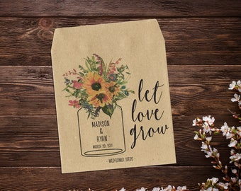 Wedding Seed Packets, Sunflowers & Wildflowers, Seed Packet Favor, Seed Favor, Let Love Grow, Rustic Wedding Favor, Garden Wedding