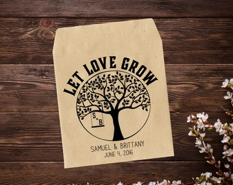 Wedding Seed Packets, Rustic Wedding Favor, 25 Personalized Favors, Seed Packet Favor, Let Love Grow, Seed Favors, Wedding Tree Favor