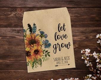 Wedding Seed Packets, Sunflower Seed Packets, Wildflower Seed Packet Favor, Seed Favor, Let Love Grow, Rustic Wedding Favor, Boho Wedding