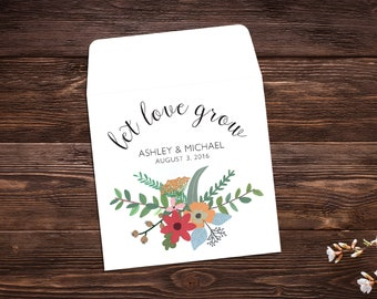 Personalized Seed Packet, 25 Seed Favor Favors, Let Love Grow, Wedding Favor, Boho Chic, Seed Packet, Wildflower Seeds, Seed Packet Favor