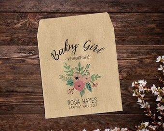 Birth Announcement Seed Packets, Seed Favor, Baby Announcement, Sunflower Seeds, Baby Girl, Seed Packets, Seed Packet Favor x 25
