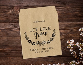 Wedding Seed Packets, Personalized Wedding Favor, Rustic Favor, Seed Envelope, Seed Packet, Let Love Grow Favor, Seed Favor, Rustic x 25