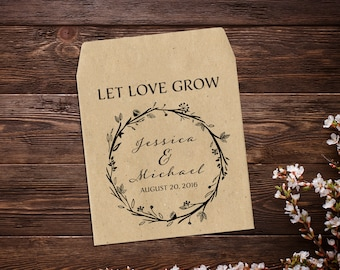 Custom Seed Wedding Favors, Wedding Seed Packet, Let Love Grow Favor, Flower Favor, Rustic Wedding, Garden Favor, Seed Packet Favor x 25
