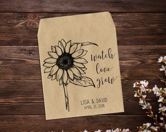 Personalized Favor Custom Seed Packet Sunflowers Sunflower Wedding Watch Love Grow Gifts Custom Sunflower Favor Seed Favor x 25