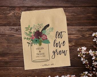 Seed Packet Favor, Mason Jar Favor, Custom Seed Packets, Seed Packets, Garden Wedding Favors, Let Love Grow, Rustic Wedding Favor