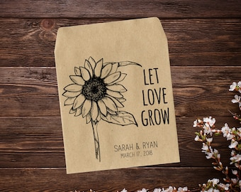 Personalized Sunflower Favor, Custom Seed Packet, Sunflower Favor, Sunflower Wedding, Let Love Grow, Custom Wedding Favor, Seed Favor x 25
