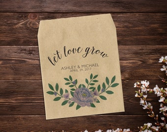 Wedding Seed Packets, Let Love Grow, Purple Peony Flowers, Seed Packets, Custom Seed Packet, Rustic Wedding Favor, Peonies x 25