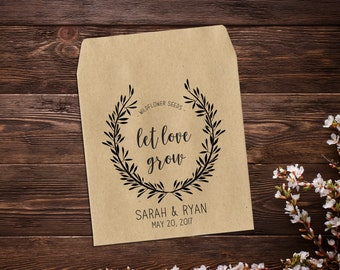 Wedding Seed Packets, Personalized Favor, Wedding Favour, Seed Envelope, Seed Packet, Let Love Grow, Seed Favor, Rustic Wedding x 25