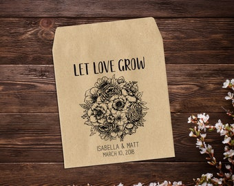 Seed Packet Favors, Let Love Grow, Wedding Seed Packets, Rustic Wedding Favor, Plant Wedding Favor, Personalized Favor, Seed Favor x 25