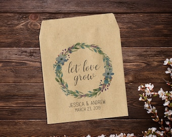 Seed Packets Wedding Favor, Let Love Grow Favor, 25 Kraft Wedding Favors, Spring Favors, Summer Favors, Seeds Packet Favor, Watercolor Favor