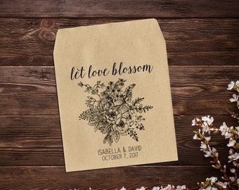 Wedding Seed Packets, Rustic Wedding Favor, Seed Packet Favor, Wedding Favors, Let Love Blossom Favor, Personalized Favor, Seed Favor x 25