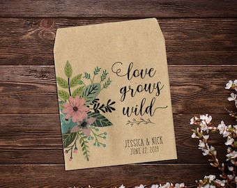 Custom Seed Packets, Seed Packet Favor, Garden Wedding Favor, Seed Packets, Woodland Wedding Favors, Let Love Grow, Rustic Wedding Favor