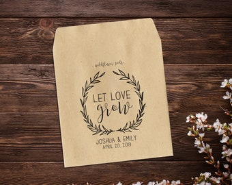 Let Love Grow Seed Packets, Wedding Seed Packets, Seed Packet Favors, Wedding Favors, Wildflower Seed Packets, Seed Favor, Barn Wedding
