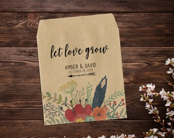 Seed Packet Favor, Custom Seed Packets, Garden Wedding Favor, Seed Packets, Woodland Wedding Favors, Let Love Grow, Rustic Wedding Favor