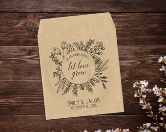 Wedding Favor, Wedding Seed Packet, Rustic Wedding Favor, Seed Packets, Seed Packet Favor, Seed Favor, Let Love Grow Seed Packets x 25