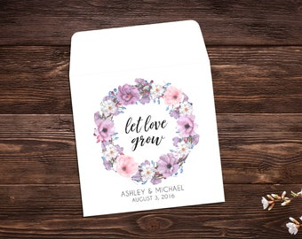 Wedding Favor, 25 Let Love Grow Favors, Wedding Seed Packets, Bridal Favor, Seed Packet Envelopes, White Seed Packets, Wedding Favor
