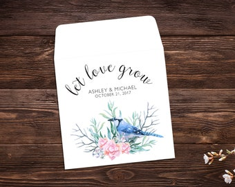 Seed Packet Favor, Let Love Grow, Wildflower Seeds, Seed Packet Envelopes, White Seed Packets, Wedding Favor, Bird Floral x 25