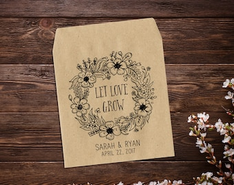 Seed Packet Favors, Rustic Wedding Favor, Paper Favor Bags, Personalized Wedding Favor, Barn Wedding, Let Love Grow x 25