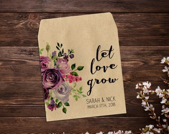 Purple Flowers Seed Favor Seed Packets Rustic Wedding Custom Seed Packets Personalized Favor Custom Wedding Favor Wedding Favor x 25