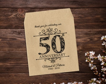 50th Wedding Anniversary, Seed Packet Favor, Anniversary Favor, Golden Anniversary, Rustic Anniversary, 50 Years, Thank you Favors x 25
