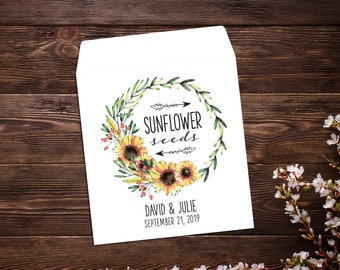Wedding Seed Packets, Sunflower Seed Packets, Seed Packet Favor, Seed Favor, Let Love Grow, Sunflower Wedding Favor, Garden Wedding