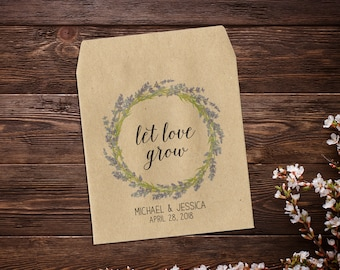 Wedding Seed Packet, Let Love Grow, Custom Seed Packets, Lavender, Personalized Favor, Custom Seed Wedding Favor, Wedding Favor x 25