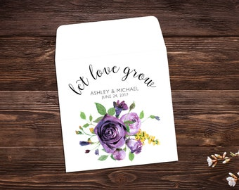 Let Love Grow Favors, 25 Seed Packet Favor, Purple Favor, Wedding Favor, Wildflower Seeds, Wedding Seed Packets, Violet, Wedding Favors
