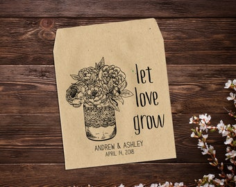 25 Seed Packets, Personalised Wedding Favors, Let Love Grow, Rustic Wedding Favor, Boho Wedding Gift, Garden Wedding Favor