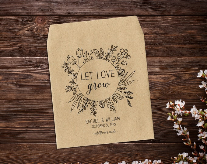 Featured listing image: Personalized Wedding Favor, Wedding Seed Packet, Rustic Wedding Favor, Seed Packet Favor, Wedding Favors, Let Love Grow Favor, Seed Favor