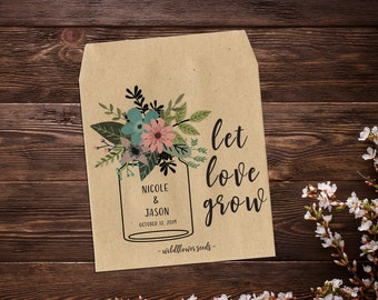Custom Seed Packets, Seed Packet Favor, Seed Packets, Country Wedding Favors, Mason Jar Favor, Let Love Grow, Rustic Wedding Favor