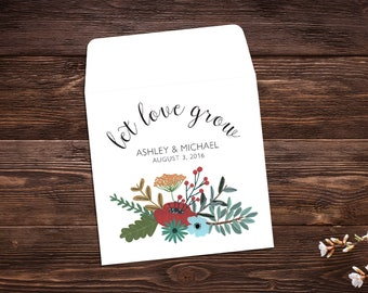 Wedding Seed Packets, Seed Favors, Let Love Grow, Wedding Favor, Boho Wedding, Seed Packet, Wildflower Seeds, Seed Packet Favor x 25