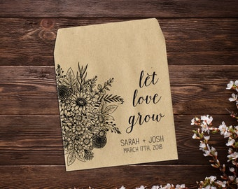 Seed Packet Favors, Wedding Seed Packets, Rustic Wedding Favor, Wedding Favors, Let Love Grow Favor, Personalized Favor, Seed Favor x 25