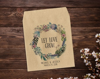 Boho Wedding Favor, Wedding Seed Favor, Seed Packet, Custom Seed Packets, Personalized Favor, Custom Seed Wedding Favor, Wedding Favor x 25