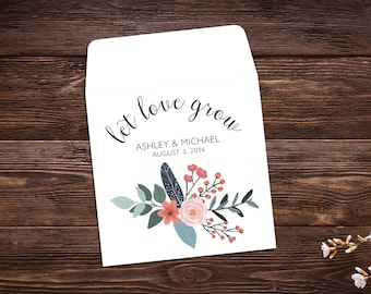 Wedding Seed Packets, 25 Seed Envelopes, Seed Favor, Let Love Grow, Wedding Favor, Boho Wedding, Seed Packet Favors, Wildflower Seeds