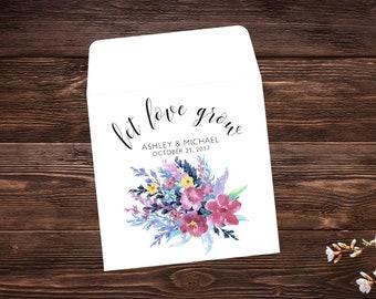 Seed Packet Favor, 25 Let Love Grow Favors, Wildflower Seeds, Seed Packet Envelopes, Wedding Seed Packets, Wedding Favors, Spring Wedding
