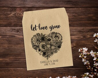 Bridal Shower Favors, Wedding Seed Packets, Rustic Wedding, Seed Packet, Heart Favor, Let Love Grow, Personalized Favor, Seed Favor x 25