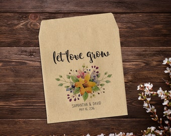 Flower Seed Packet, Wedding Seed Packet, Let Love Grow, Wedding Favor, Rustic Wedding, Seed Favors, Boho Chic, Barn Wedding x 25