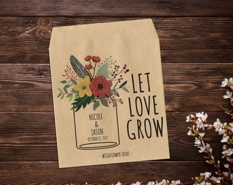 Custom Seed Packet, Let Love Grow Favor, Wedding Seed Packet, Seed Packet Favor, Mason Jar Favor, Garden Wedding Favor, Rustic Wedding Favor