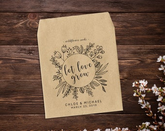 Personalized Wedding Seed Packets, Wedding Favors, Seed Envelopes, Seed Packets, Let Love Grow, Seed Favors, Rustic Wedding Favor
