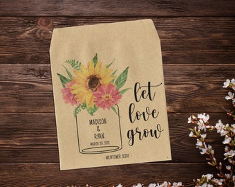 Sunflower Seed Packets, Wedding Seed Packets, Seed Packet Favor, Seed Favor, Let Love Grow, Floral Rustic Favor, Garden Wedding x 25