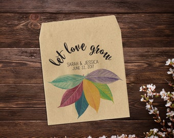 Seed Favors, Lesbian Wedding, Flower Seed Packet, Gay Wedding Favor, Let Love Grow, Wedding Favor, Rainbow Wedding, Seed Packet x 25