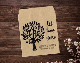 Personalized Seed Packet, Seed Favor, Wedding Favour, Wedding Bomboniere, Seed Packet, Let Love Grow Favour, Rustic Wedding x 25