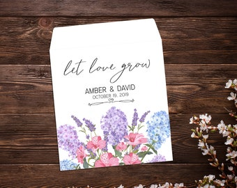 Seed Favors, Garden Wedding, Purple Flowers, Custom Wedding Favor, Wedding Favor, Custom Seed Packets, Personalized Favor, Seed Packet Favor