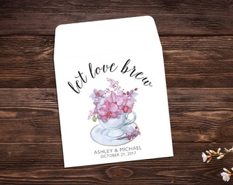 Wedding Favor, Tea Party Favors, Bridal Shower Tea Party, Wedding Tea Favor, Custom Tea Bags, Tea Favor, Let Love Brew, Tea Party x 25