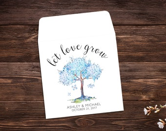 Seed Packet Favor, Let Love Grow, Watercolor Tree, Seed Packet Envelopes, White Seed Packet, Blue Wedding Favor, Floral x 25
