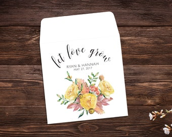 Let Love Grow Favors, 25 Seed Packet Favors, Wedding Favor, Seed Packet Envelopes, White Seed Packets, Wedding Favor, Fall Wedding